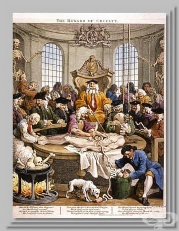 """Кратина на Уилям Хогарт от 1751 година. Тя наси заглавието """"The reward of cruelty""""."""