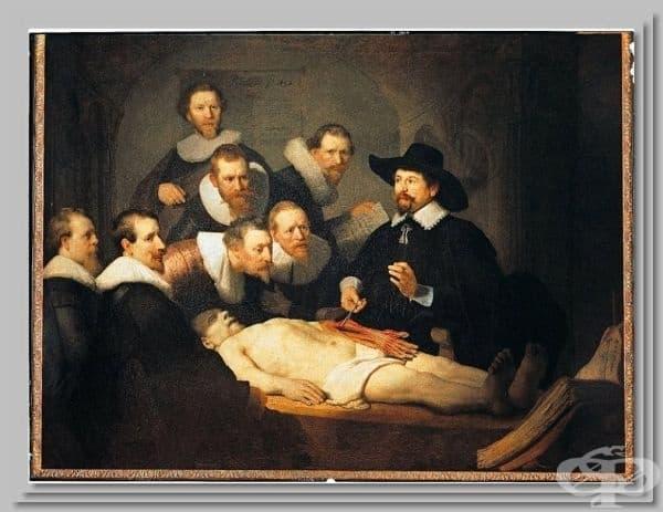 """""""Урок по анатомия на Никола Тулп"""" - картина от 1632 на Рембранд."""