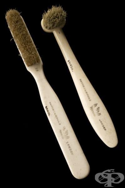 Четка за зъби от 1870 година, изработена от конски косми