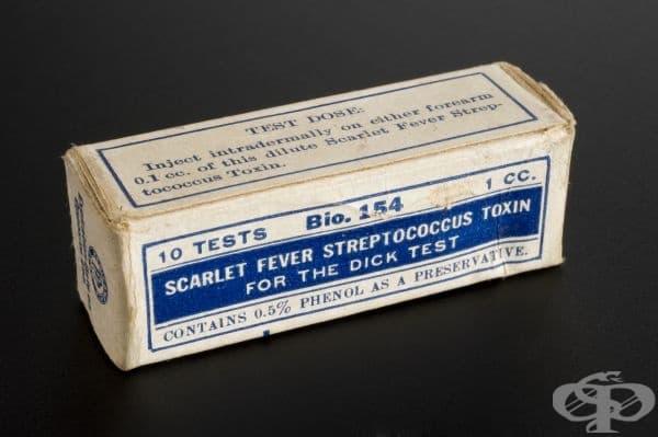 Кутия, съдържаща стрептококов токсин за тестване срещу скарлатина