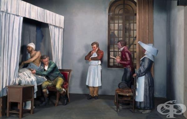 Старинна диорама на медицински преглед между д-р Рене Лаенек и негов пациент
