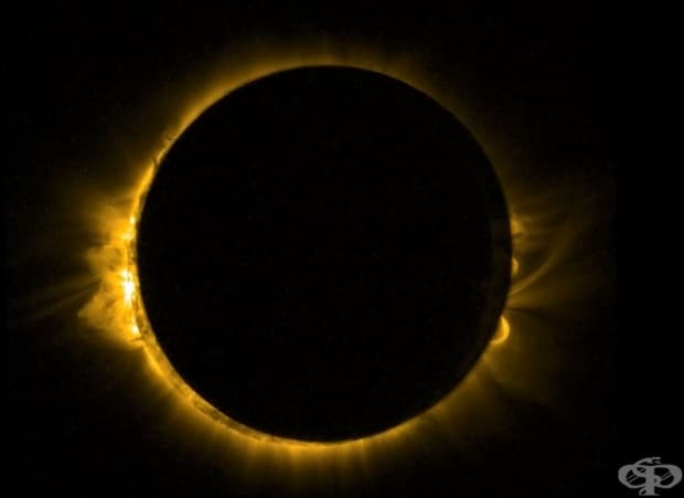 Слънчево затъмнение, заснето от минисателита Проба-2