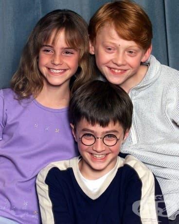 Ема Уотсън 10, Даниел Радклиф 11 и Рупърт Гринт на 12, 2000.