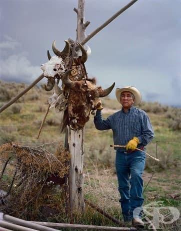 Форт Хол, Айдахо, Лео Тетон стои до кол, украсен с бизонски черепи, представляващи духовната връзка между племето на Шошони-Баннок и бизона.