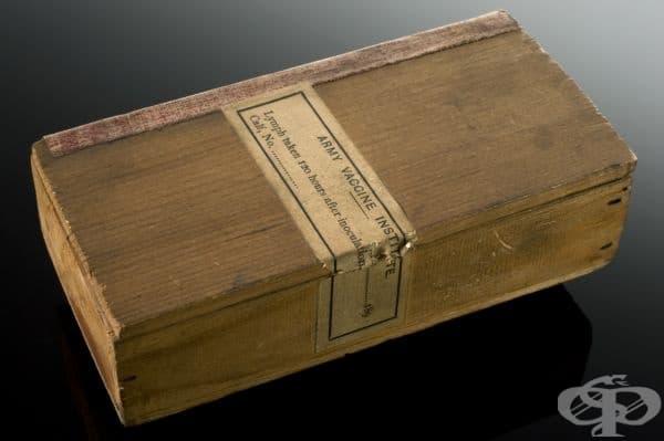 Дървена кутия с телешка лимфа от 1900 година, ползвана за ваксинация