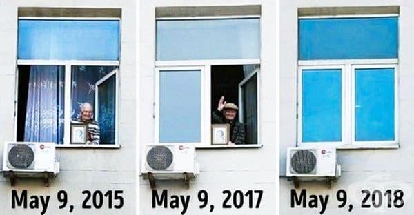 """В продължение на няколко години този господин държеше снимката на майката си и поздравяваше хората от парата по повод 9 май """"Денят на победата"""" в Русия. Тази година, той не присъства, защото почина на 97-годишна възраст през зимата на 2018 г."""