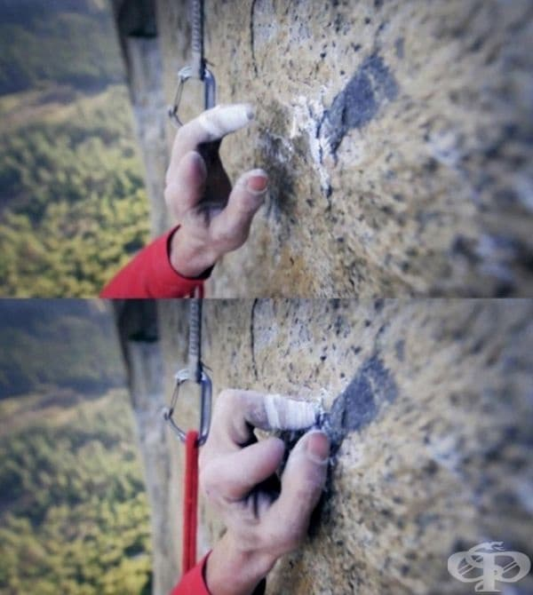 Професионален алпинист, придържащ се към най-малката неравна повърхност от стръмна скала.