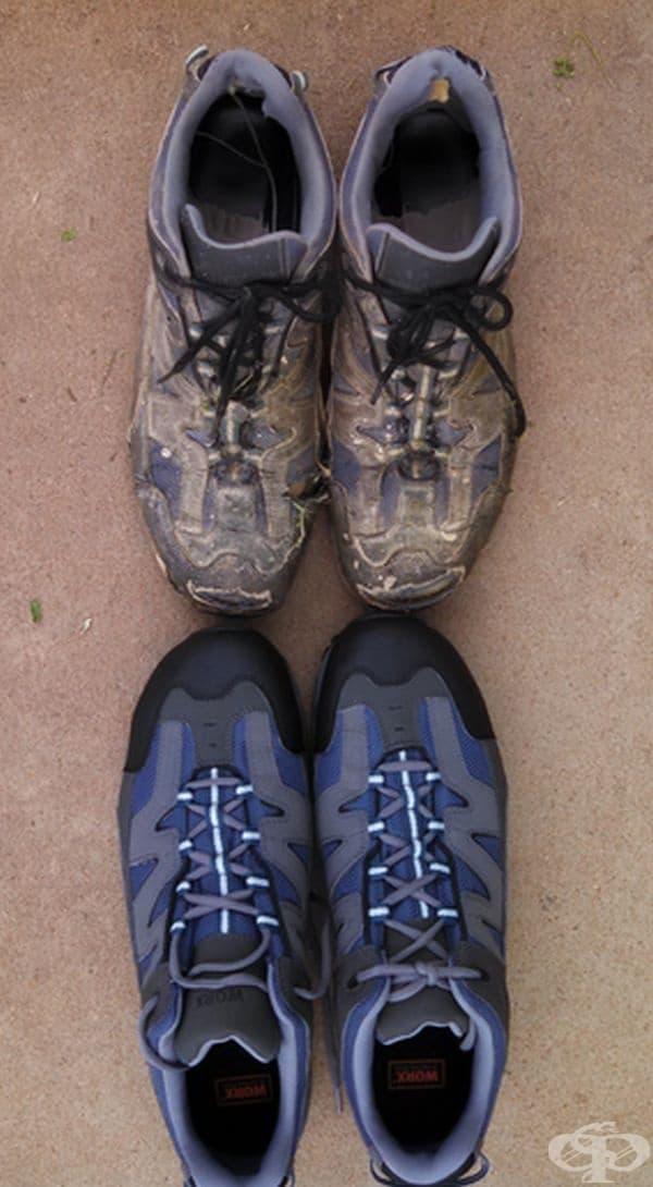 Нови работни обувки и същите, но използвани в продължение на 15 месеца.
