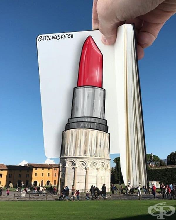 30 снимки на забележителности, съчетаващи реалност и рисунка