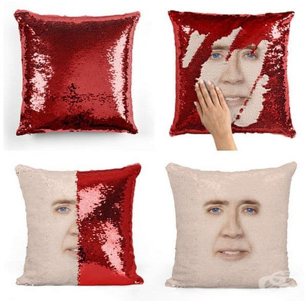 Възглавница със скрит образ на Никълъс Кейдж.