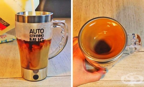 Самозагряваща се чаша за пътуване, която непрекъснато ще разбърква кафето и същевременно ще го държи топло.