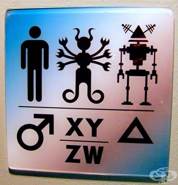 Знак за тоалетна в научен музей.