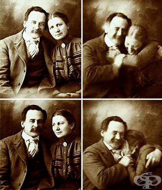 Двойка се опитва да не се смее за семейния си портет, 1890 г.