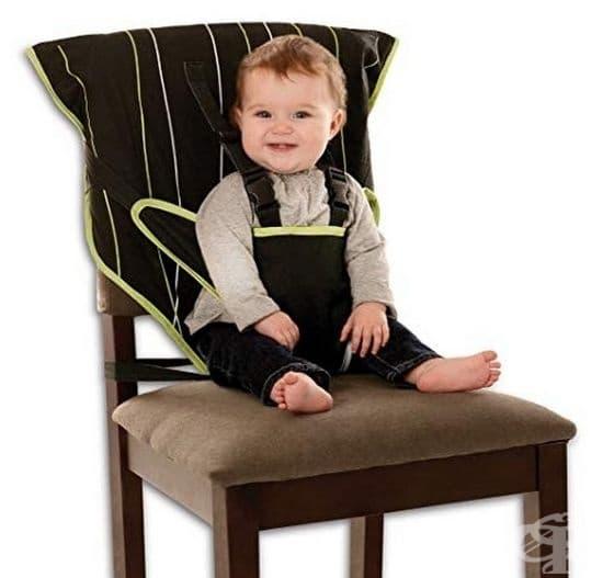 Седалка за бебе от плат, която може да се постави и регулира на всеки стол така, че бебето ви да е в безопасност.