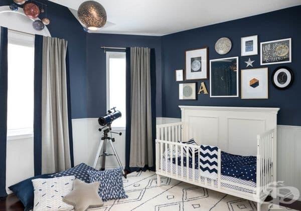 Наука. Синият и белият цвят са подходящи за детска стая, която не трябва да е много ярка. Този дизайн е чудесен, както за деца, така и за тийнейджъри.
