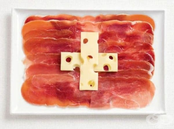 Швейцария: нарязано месо, сирене Ементал