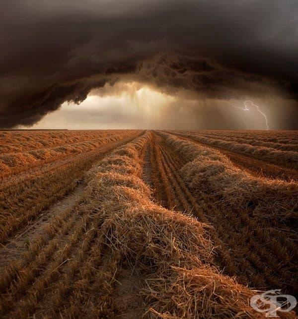 Буреносни облаци над поле.