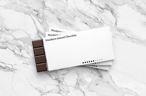 Опаковка на шоколад, при която точките показват интензивността на вкуса.