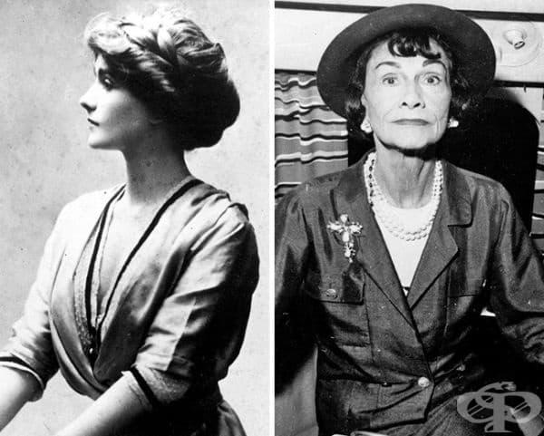 Прекрасната Коко Шанел през 1910 и 1957 година.