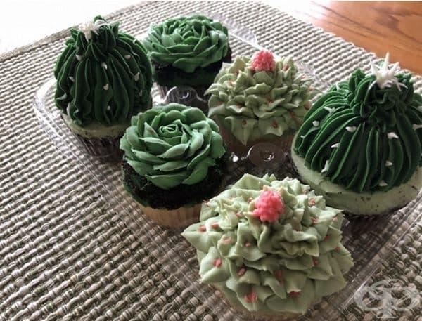 Мъфини, който приличат много на кактуси.
