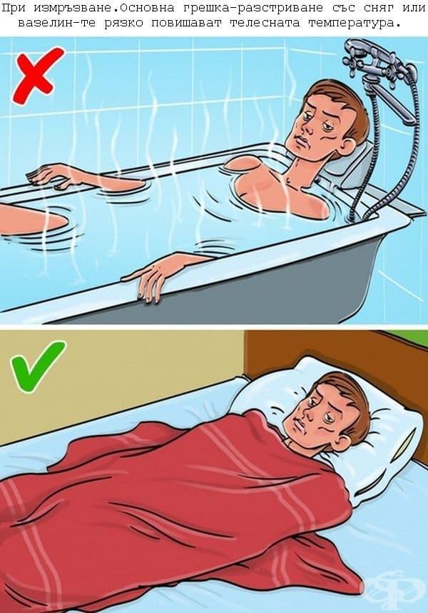 Болният трябва да бъде облечен и завит. Дават се топли напитки, в никакъв случай алкохол – той допълнително увеличава топлинните загуби.