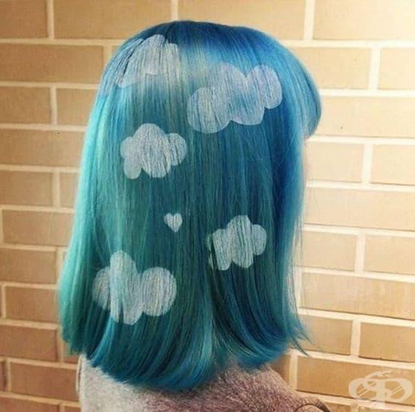 Многоцветна коса с облачета или други мотиви. Вероятно е трудно да се поддържа подобен цвят със съответните форми.