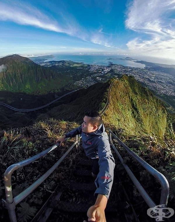 """Снимка на стълбите Хайку, известни и като """"Стълбите към Рая"""" - стръмна туристическа пътека намираща се в остров Оаху, Хаваи."""