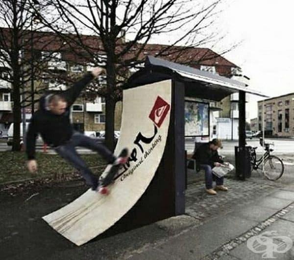 Автобусна спирка за скейтъри.