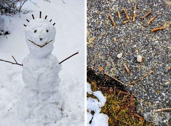 Снежният човек се е разтопил, но лицето му се е запазило.