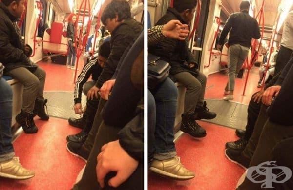 Един мъж видя босо момче в автобуса и му подари обувките си.