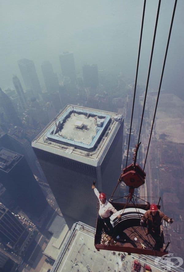 Построяване на антената на Световния търговски център в Ню Йорк, 1979 г.