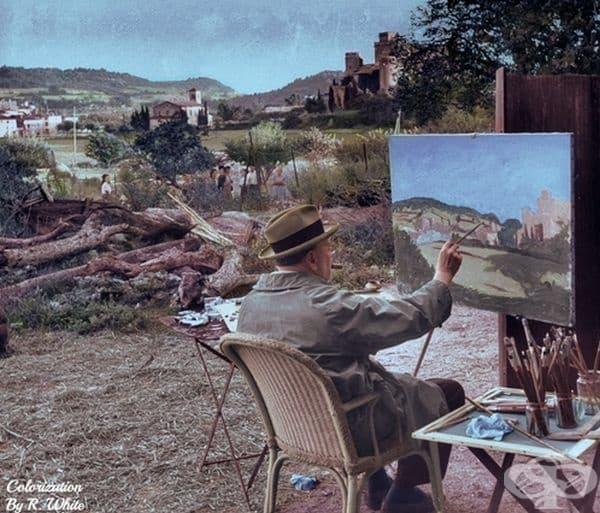 Уинстън Чърчил, живописен пейзаж на френския град Лурмарин, 1948 г.