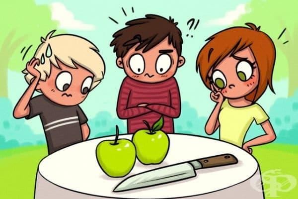 Японец подлудява интернет потребителите с интересна загадка за трима души, две ябълки и един нож