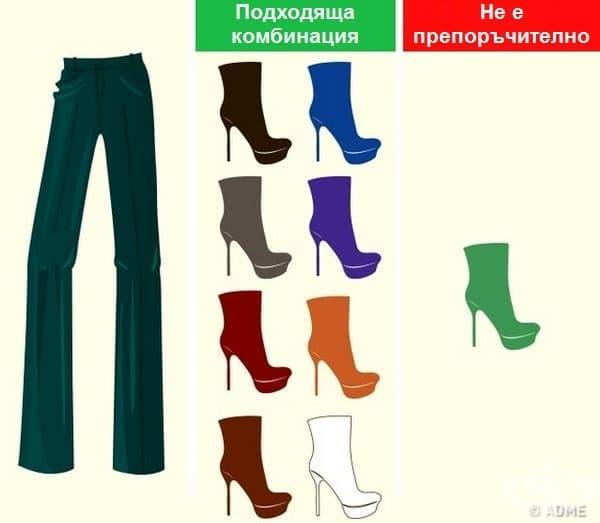 Зелени панталони. Единственият цвят, с който тези панталони рядко изглеждат добре, е зеленото. За да бъдете неотразими, по-добре заложете на друг вариант от изображението.