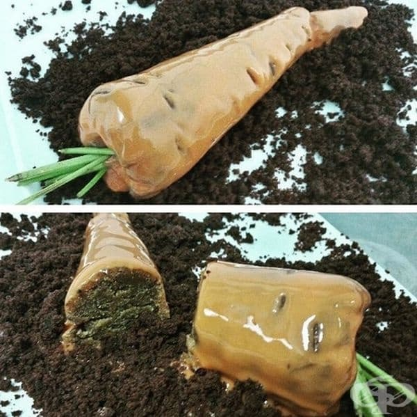 Морков - шоколадов пак с настърган шоколад.