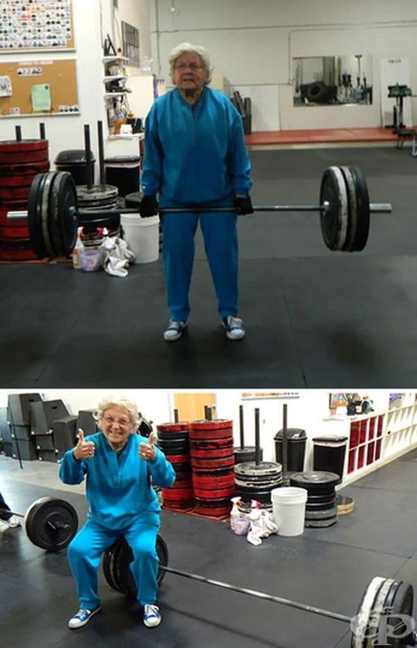 Тази жена е на 82 години, но се справя доста добре.