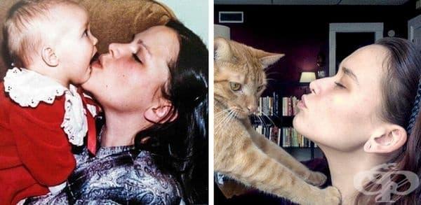 Разликата в снимките - 30 години и една котка.