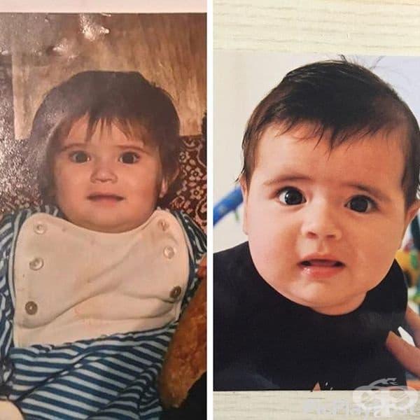 На първата снимка - майката като бебе, а на втората - нейният син на същата възраст и със същото удивление.