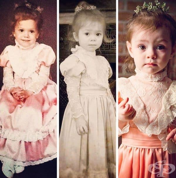 Първи кадър - майката на 3 години. На следващите две снимки - двете й дъщери на по 3 години със същата рокля.