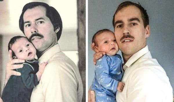 Баща и син със своите 5-седмични момчета.