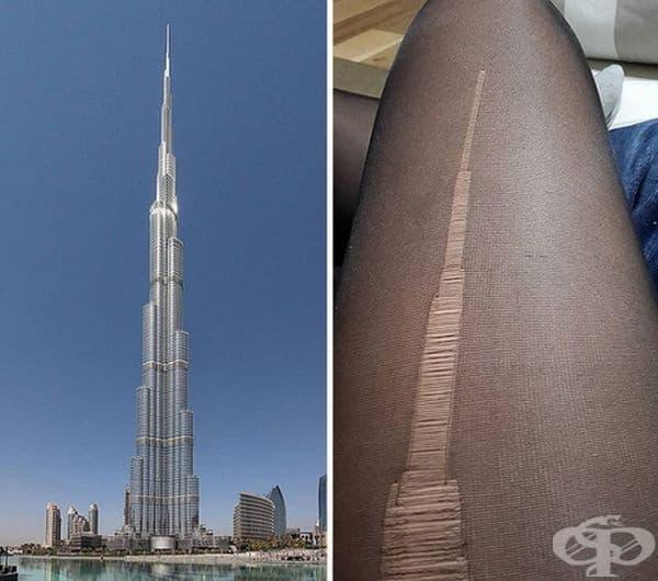 Бурж Халифа в Дубай и бримка, която прилича на кулата.