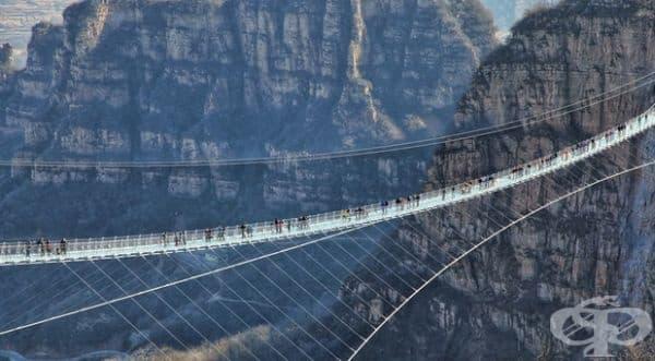 Най-дългият и най-висок стъклен мост в света: Националния парк Чжанцзяцзе, Китай.