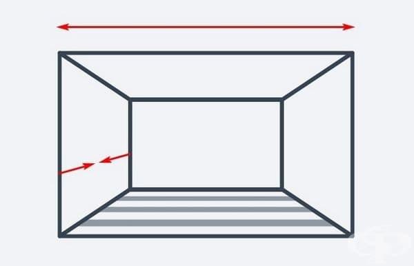 Хоризонталните ивици на пода са подходящи, ако желаете стаята ви да изглежда по-широка и по-малко дълбока.