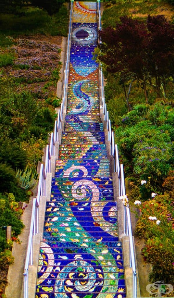 Мозаечните стълби, Сан Франциско, САЩ.