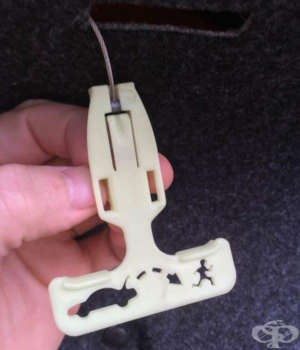 """""""Ръчната дръжка на багажника ми изобразява как да се спаси човек, ако попадне в капан. Отделно тя свети в тъмното, така че да бъде забелязана."""""""