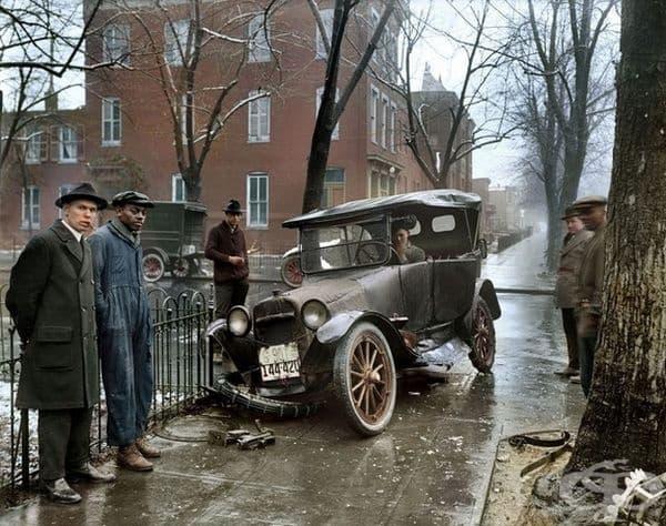 Цветна снимка на катастрофа във Вашингтон, около 1921 г.