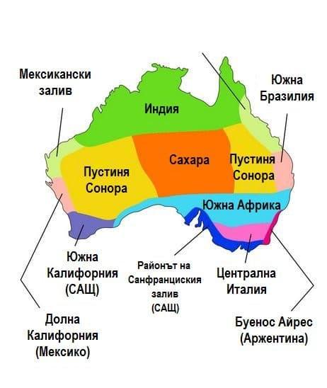 Климатичните аналози на различни държави в Австралия (основната част).