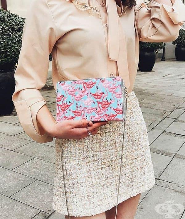Чанта с принт фламинго.