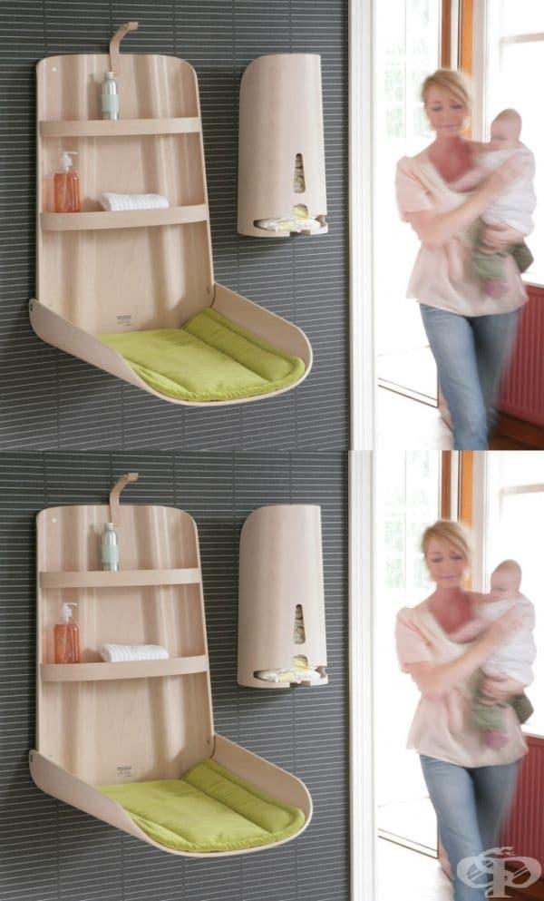 Маса за повиване + шкаф за съхранение на продукти в грижа за бебето.