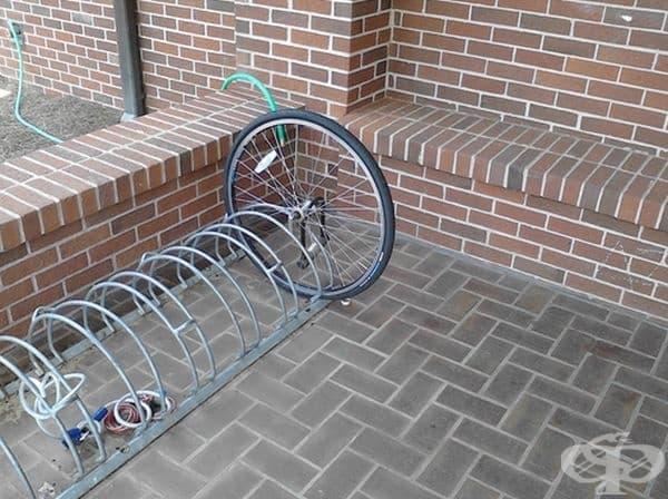 Това е останало от откраднат велосипед.